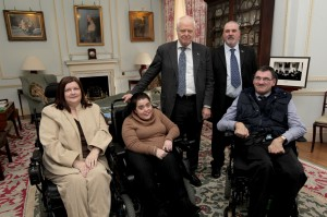 Picture of members of the REAL Network, Elizabeth Zammit, Joanne Sansome, Dermot and Gerry with Thomas Hammarberg, Council of Europe Commissioner for Human Rights