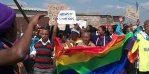 LGBTI activists protest the lack of progress in the investigation into Noxolo Nogwaza's murder in KwaThema © EPOC